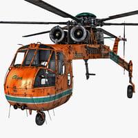 sikorsky s-64 skycrane helicopter 3d obj