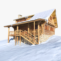 log house snow mountains