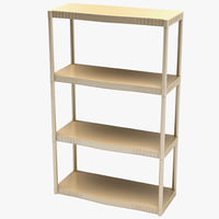 3d 4-tier heavy plastic shelves model