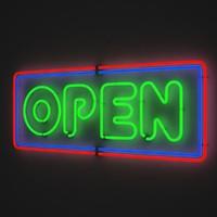 3d open sign neon model