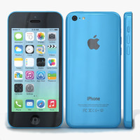 3d apple iphone 5c blue model