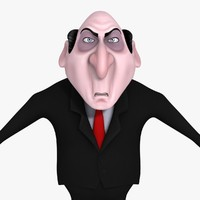 cartoon evil businessman 3d model