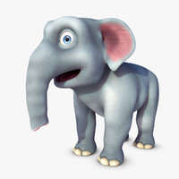 3d model cartoon elephant elle