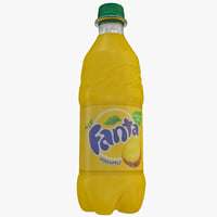 3d fanta pineapple bottle model