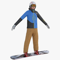 3d model snowboard player