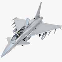 3d eurofighter typhoon ef2000 rigged model