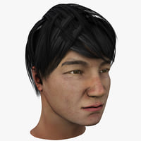 asian man head 3d model