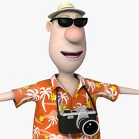 cartoon tourist man character 3d max