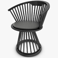 3d realistic fan dining chair model