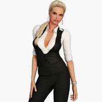 3d max blonde business woman character