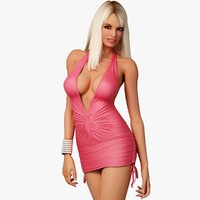 3d model blonde woman character dress