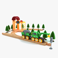 kids train set toy 3d dwg
