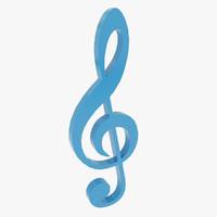 3d treble clef