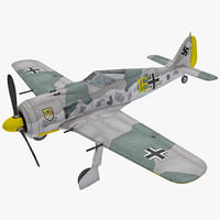 Focke Wulf Fw 190 German WWII Fighter Aircraft 2 Rigged