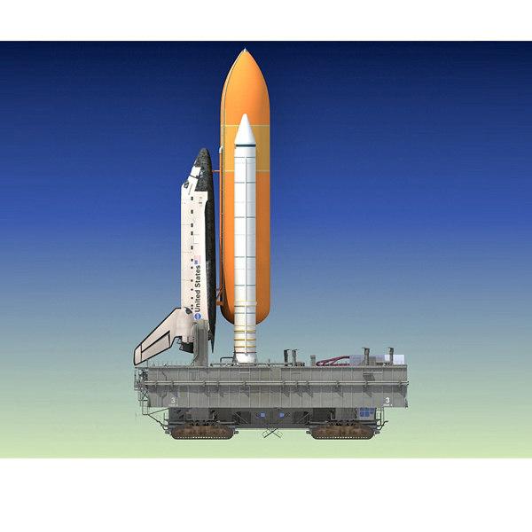 nasa crawler launch space shuttle 3d model