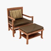 max frank lloyd spindle chair ottoman