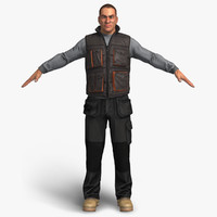 3d male workman man