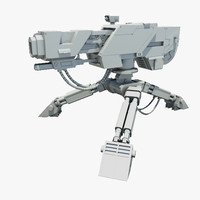 sci-fi sentry gun 3d max