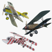 Albatros DIII WW1 Airplane (3 x Pack)