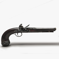 antique flintlock pistol 3d model