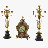 Fireplace Clock & Candelabra Set