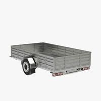 3d model utility trailer