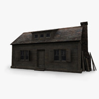 3d house old wooden farm