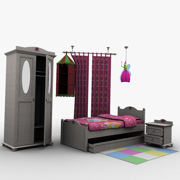 Girl bedroom bed room 3d model - Beds for small space model ...
