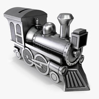 3ds max money-box steam locomotive
