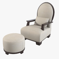 Meridiani Garbo Chair & Pouf