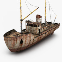 rusty fishing boat 3d model
