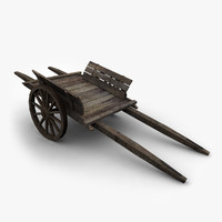wooden wagon 3d ma