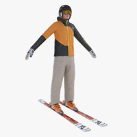 3d model freestyle skiing player