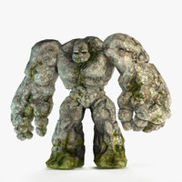 3d golem character rocks model