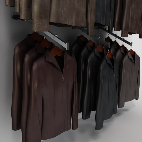 3d model women leather jackets wall - Womens Leather Jackets Wall Display... by monkeyodoom