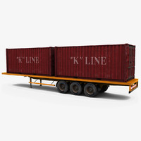 3d semi trailer shipping container