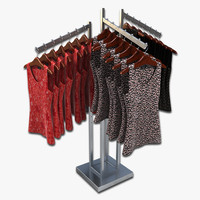 3d model women blouses rack
