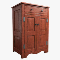 3d model realistic wooden cabinet