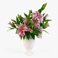 bouquet lilies 2 3d obj