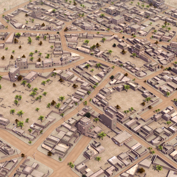 3d arab city suburb scene model