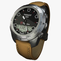 3d model tissot t-touch leather watches