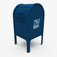 3d model polygonal mail box street