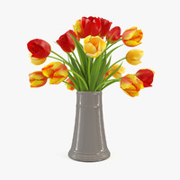 bouquet tulips 3d model