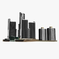 detroit renaissance center 3d max
