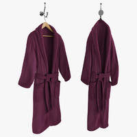 Bathrobe On Hanger And Hook Purple