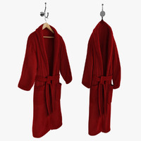 Bathrobe On Hanger And Hook Red
