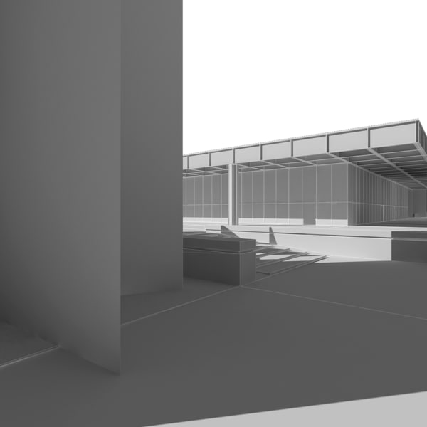 3d neue nationalgallerie museum model - Neue Nationalgalerie with Art... by tgarch