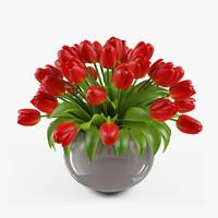 3dsmax vase tulips