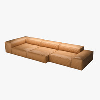 piero extrasoft sofa leather 3d model
