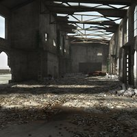 3d interior ruined warehouse model